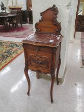 LOUIS XV STYLE CARVED WALNUT COMMODE/NIGHTSTAND, F
