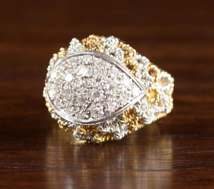 DIAMOND AND EIGHTEEN KARAT GOLD ITALIAN RING.  The