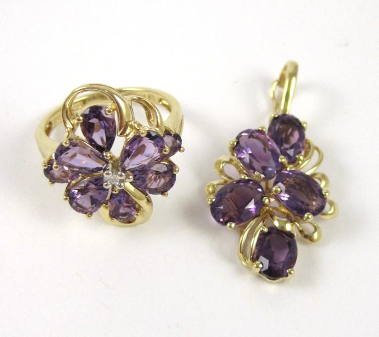 TWO ARTICLES OF AMETHYST JEWELRY, including a 1-1/