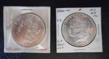 TWO CARSON CITY SILVER MORGAN DOLLARS:  1882-CC (2