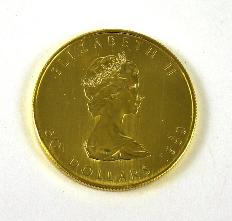 BU ROLL OF TEN CANADIAN GOLD MAPLE LEAF COINS, $50
