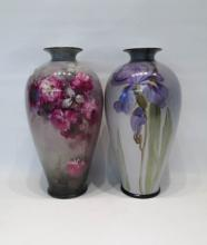 TWO LENOX HAND PAINTED PORCELAIN VASES