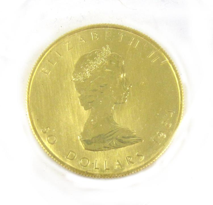 THREE CANADIAN GOLD MAPLE LEAF COINS, $50 dollar d