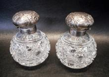 PAIR OF ENGLISH STERLING & CUT GLASS SCENT BOTTLES