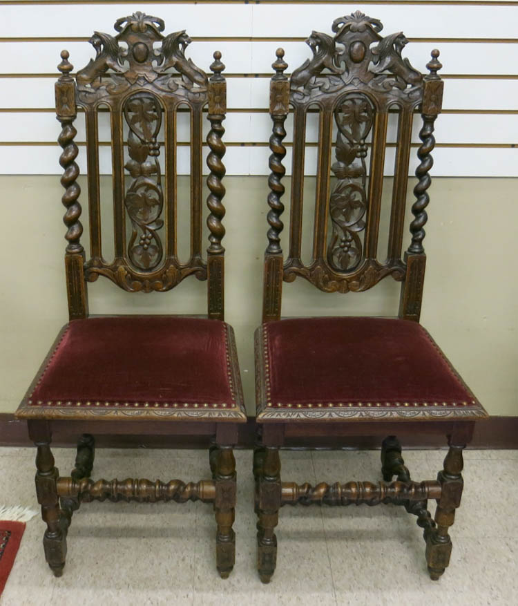 A SET OF FOUR CARVED OAK DINING CHAIRS, French, 19