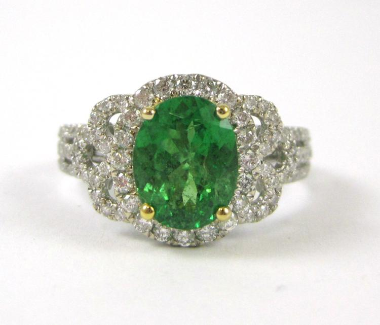 COLUMBIAN EMERALD AND DIAMOND RING, 14k white and