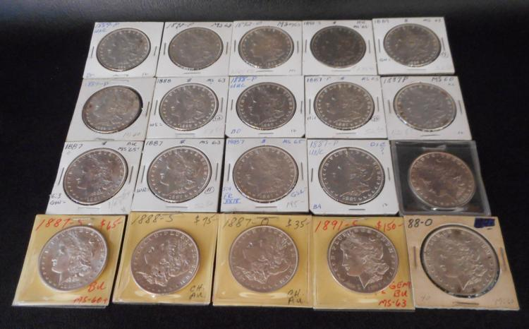 TWENTY U.S. SILVER MORGAN DOLLARS:  1887-P (6), 18