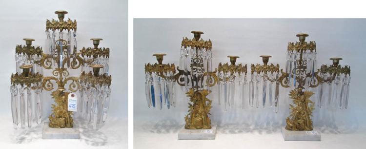 VICTORIAN GILT METAL GARNITURE, 3 pieces; each sta