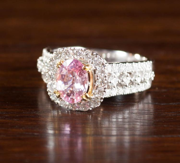 PINK SAPPHIRE, DIAMOND AND FOURTEEN KARAT GOLD RIN