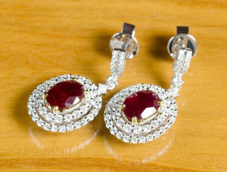 PAIR OF RUBY AND DIAMOND DANGLE EARRINGS, each 14k