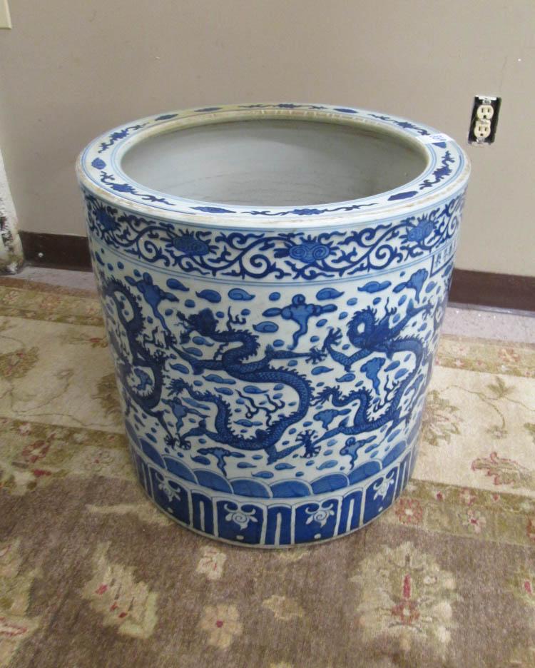 CHINESE BLUE UNDERGLAZE PORCELAIN FLOOR JAR, a lar