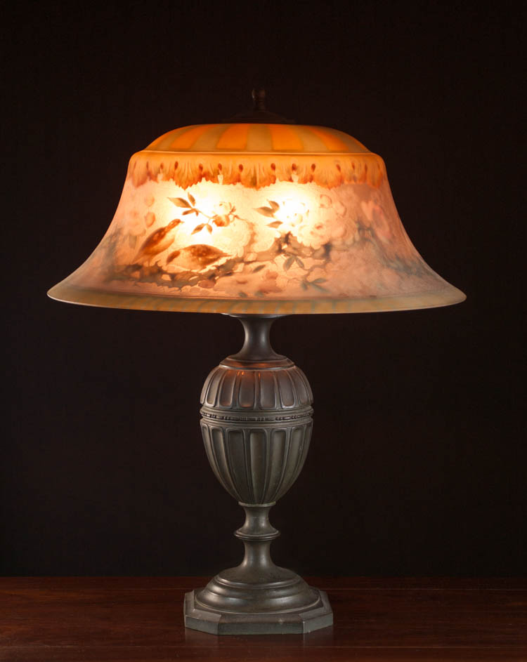 A PAIRPOINT TABLE LAMP with reverse painted 19