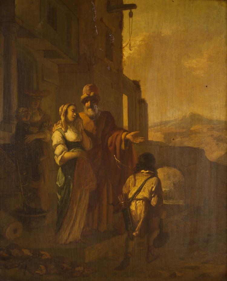DUTCH OIL ON OAK PANEL, Abraham and Hagar