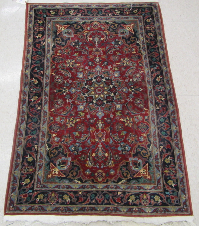CASHMERE WOOL AND SILK AREA RUG, northern India, f