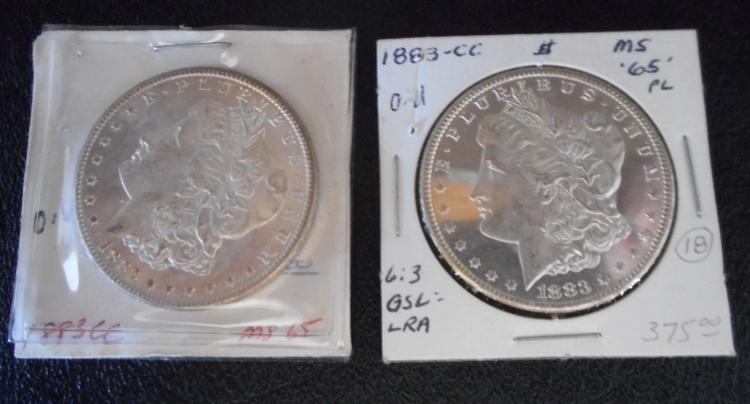 TWO CARSON CITY SILVER MORGAN DOLLARS: 1883-CC (2