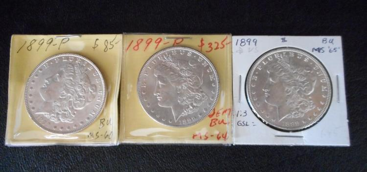 THREE U.S. SILVER MORGAN DOLLARS, all 1899-P.