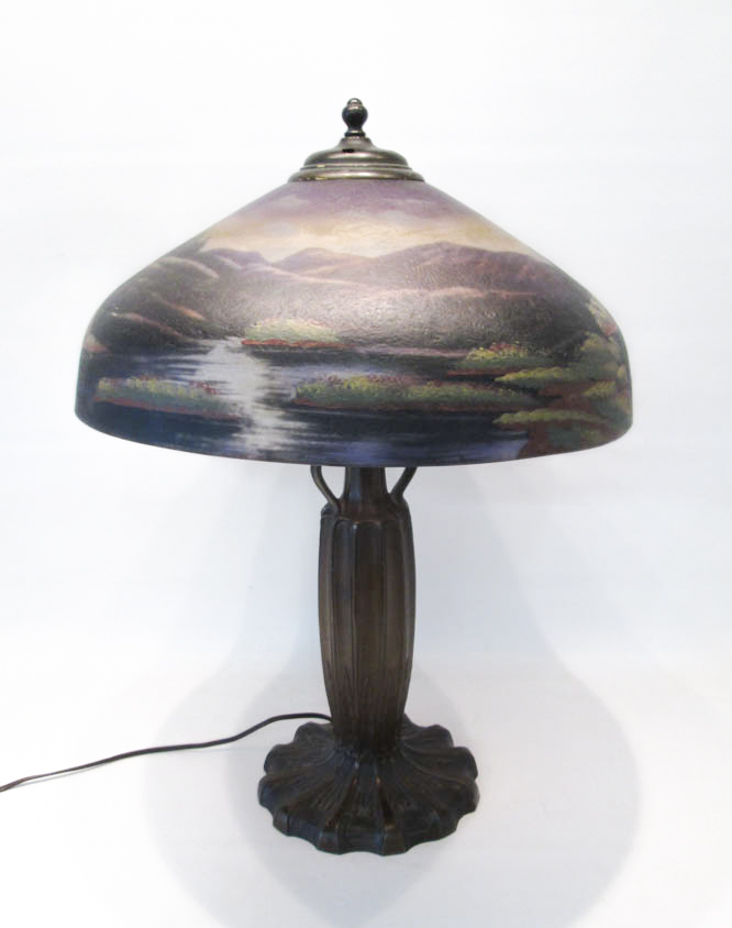 REVERSE PAINTED TABLE LAMP, the glass shade with h