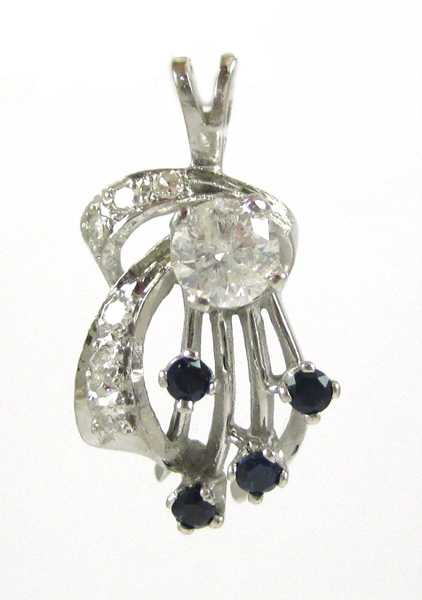 DIAMOND, SAPPHIRE AND WHITE GOLD PENDANT.  The 14k