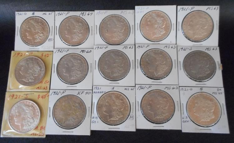 FIFTEEN U.S. SILVER MORGAN DOLLARS: 1921-P (11),