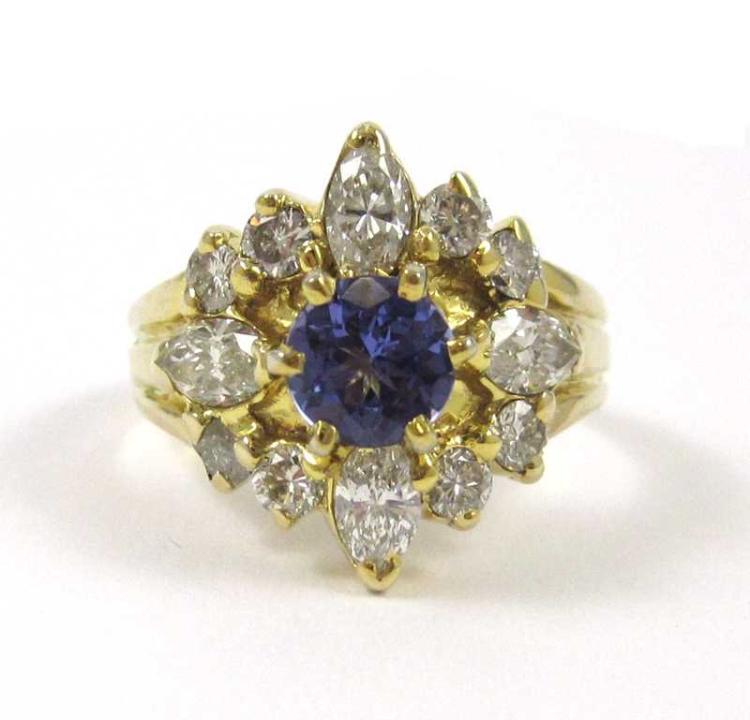 TANZANITE, DIAMOND AND FOURTEEN KARAT GOLD RING, w