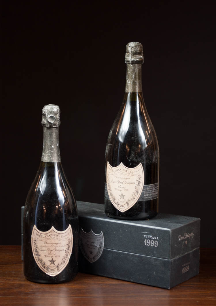 THREE BOTTLES OF VINTAGE FRENCH DOM PERIGNON CHAMP