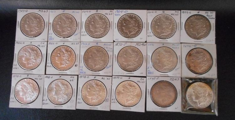EIGHTEEN U.S. SILVER MORGAN DOLLARS:  1892-P, 189