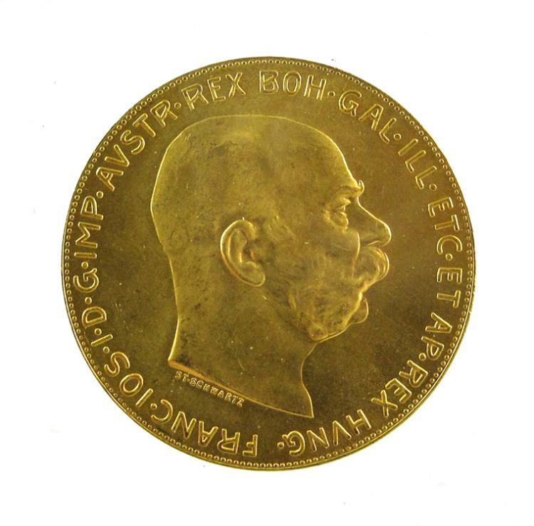 FIVE AUSTRIAN ONE HUNDRED CORONA GOLD COINS