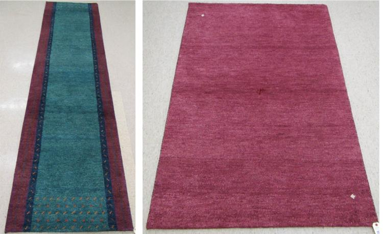 TWO CONTEMPORARY HAND KNOTTED ORIENTAL AREA RUGS,