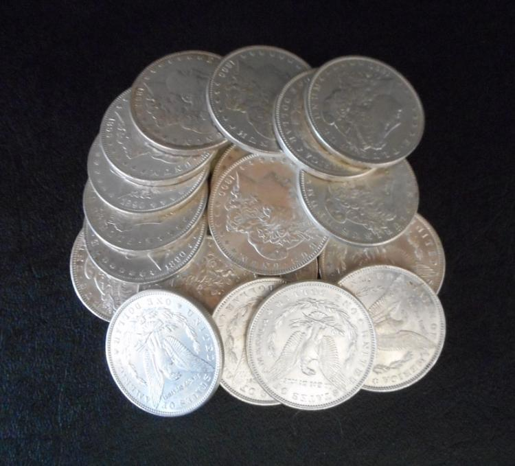A ROLL OF TWENTY U.S. SILVER MORGAN DOLLARS, all 1