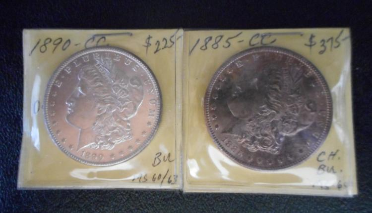 TWO CARSON CITY SILVER MORGAN DOLLARS: 1885-CC an