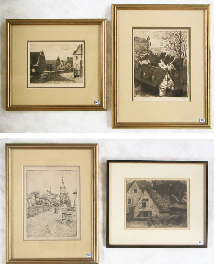 FOUR ETCHINGS:  German street scenes and village s