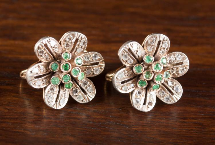 PAIR OF EMERALD AND DIAMOND EARRINGS, each 12k yel
