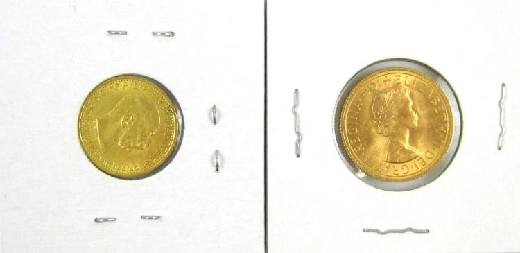 TWO GOLD COINS: 1) 1958 British Sovereign, .917 f