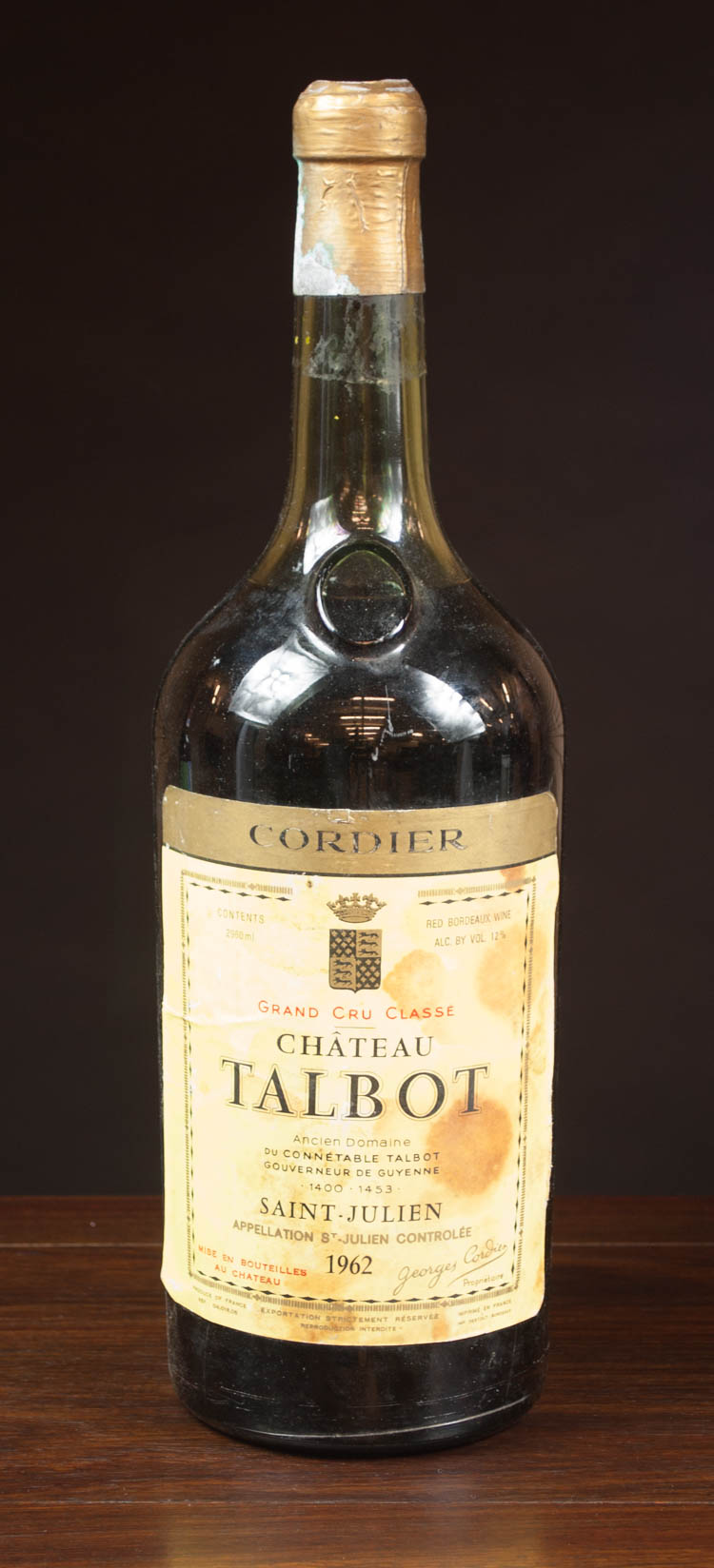 DOUBLE MAGNUM BOTTLE OF VINTAGE FRENCH RED BORDEAU