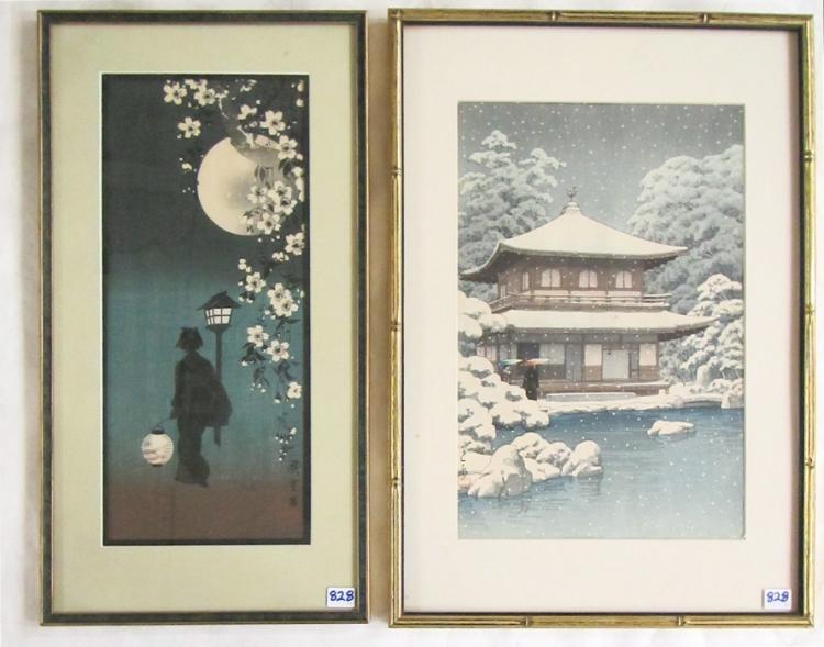 TWO JAPANESE WOODCUTS:  Kawase Hasui (1883-1957) G