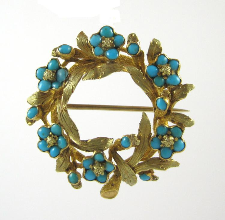 TURQUOISE AND FOURTEEN KARAT GOLD PENDANT/BROOCH.
