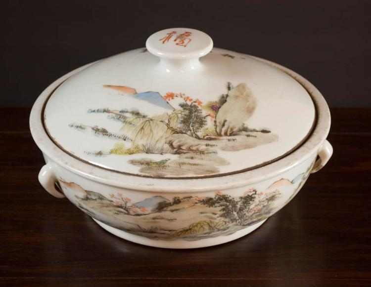 CHINESE QING QIAN JIANG PORCELAIN LIDDED BASIN dec