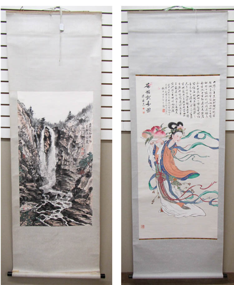 TWO CHINESE SCROLLS: watercolor and ink on paper,