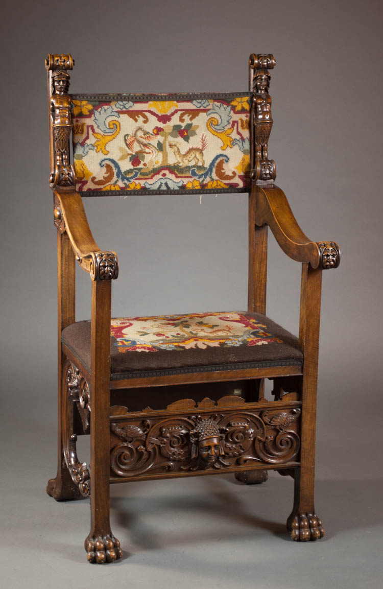 ITALIAN RENAISSANCE STYLE ARMCHAIR, early 20th cen