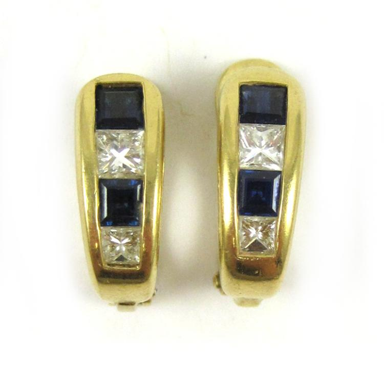 PAIR OF SAPPHIRE AND DIAMOND EARRINGS, each 18k ye