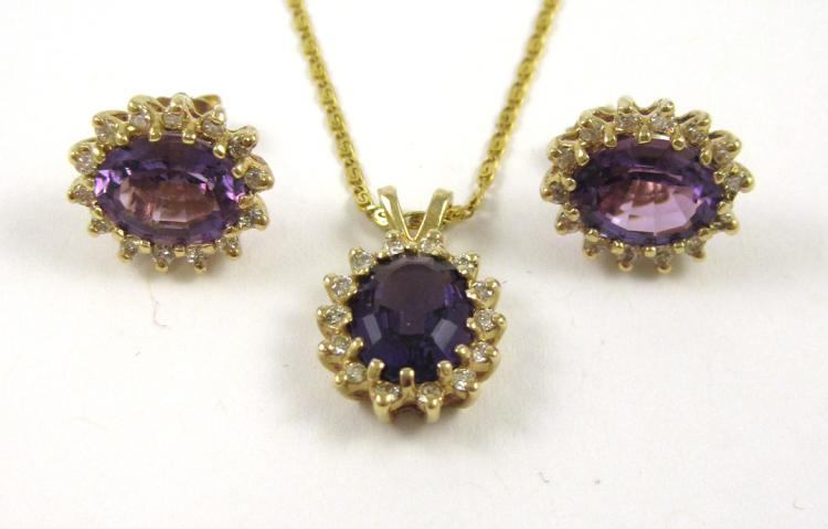 THREE ARTICLES OF AMETHYST AND DIAMOND JEWELRY, in