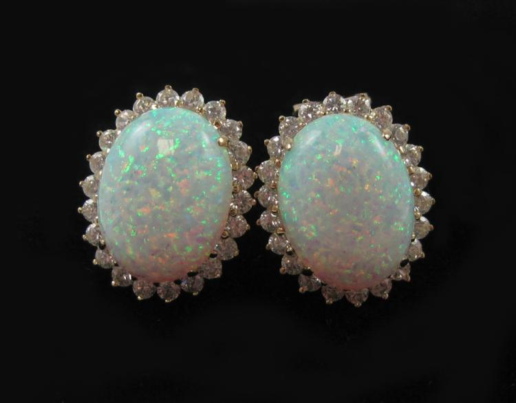 PAIR OF OPAL AND FOURTEEN KARAT GOLD EARRINGS, eac