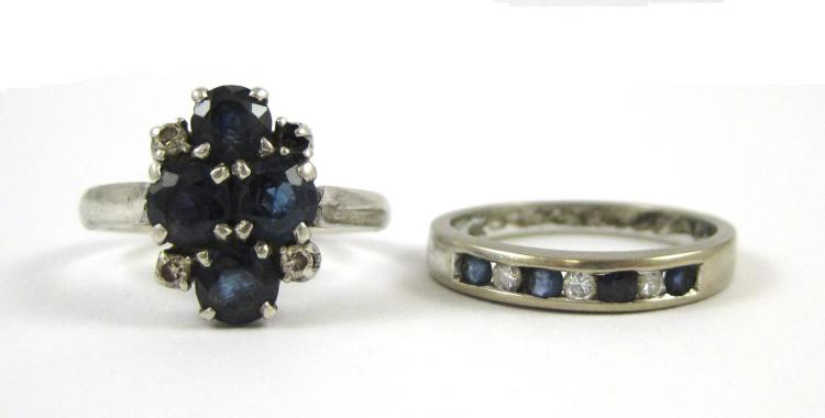 TWO SAPPHIRE AND DIAMOND RINGS, including a size 6