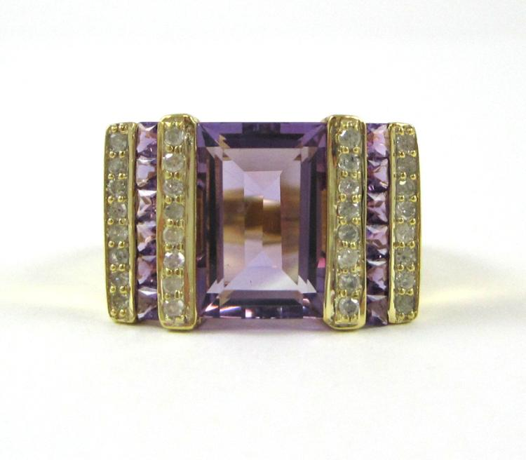 AMETHYST, DIAMOND AND TEN KARAT GOLD RING, with a