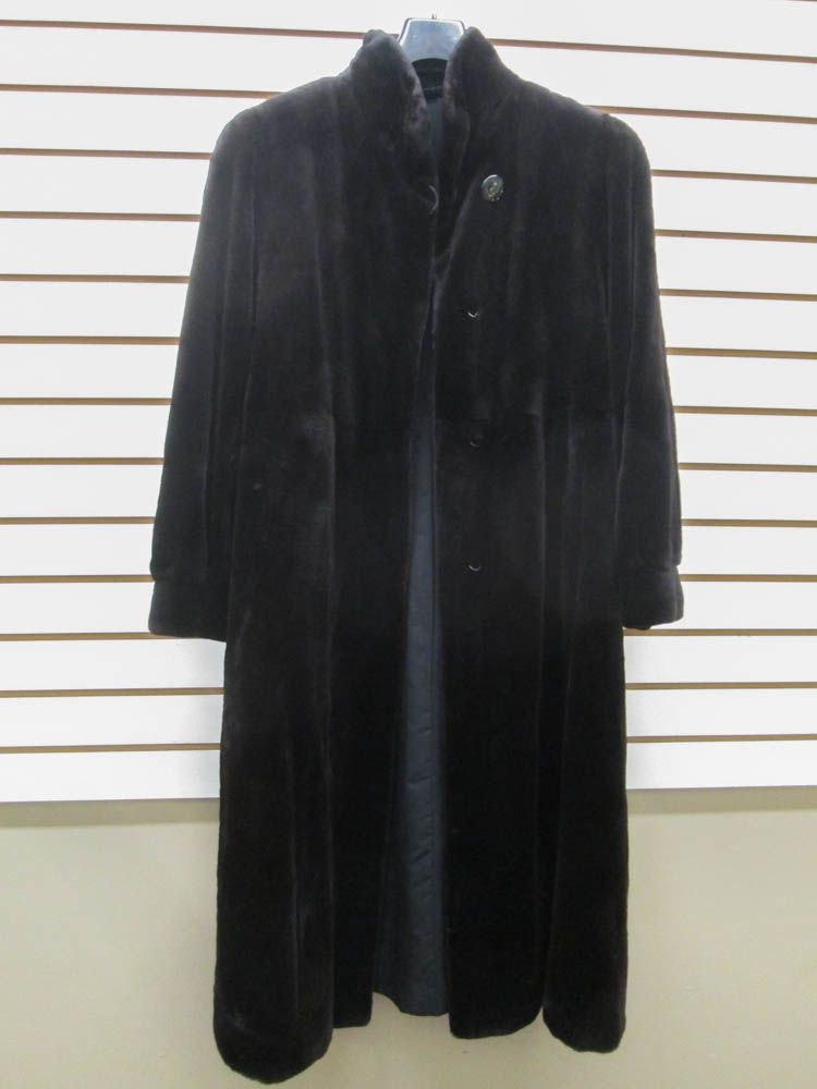 LADY'S FULL LENGTH SHEARED MINK COAT, brown fur, h