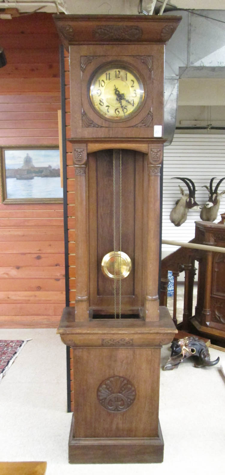 AN OAK OPEN-WELL TALL CASE FLOOR CLOCK, Schlenker&