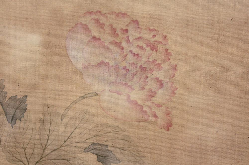 CHINESE PAINTING ON SILK, flowers, signed in calli