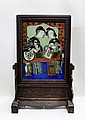 CHINESE EGLOMISE REVERSE PAINTING ON GLASS, two