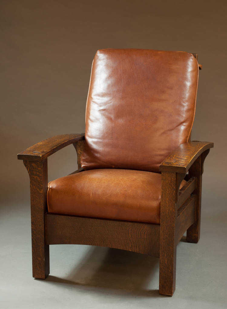 Craftsman Oak And Leather Morris Armchair Warren