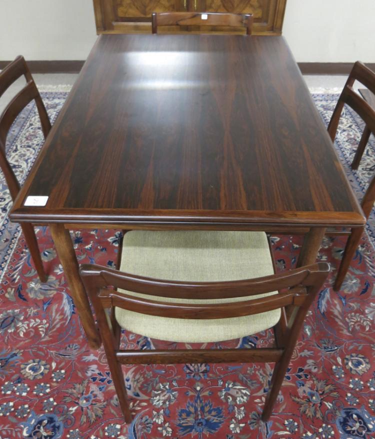 DANISH MODERN ROSEWOOD DINING TABLE AND CHAIR SET